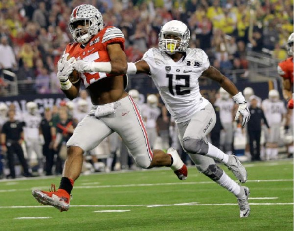 Common theme of the night. Zeke Elliott with an Oregon defender trailing him to the end zone.