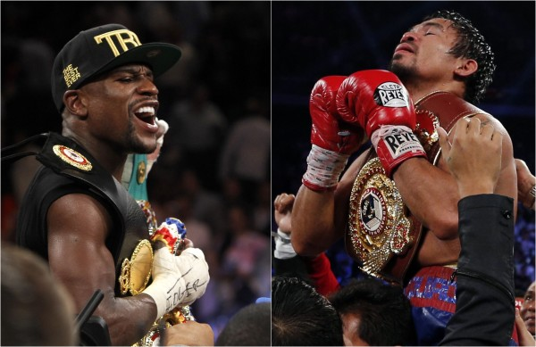 Mayweather Jr. of the U.S. celebrates his victory over Alvarez at the MGM Grand Garden Arena in Las Vegas